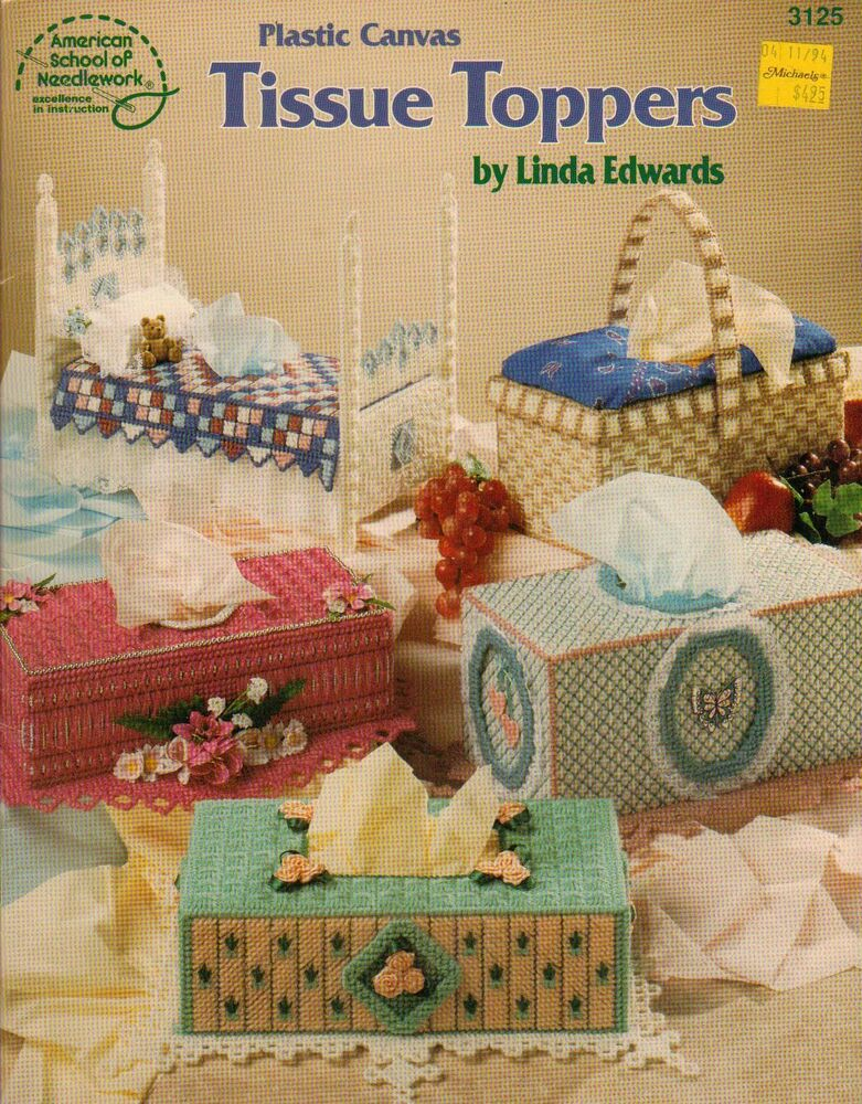 Plastic Canvas Book Cover Patterns : Used tissue toppers covers bed basket flowers plastic