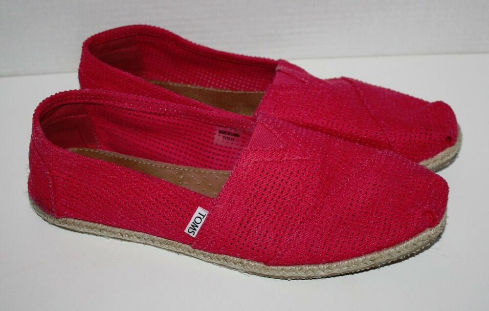 womens toms fuchsia freetown classic pink flats shoes size