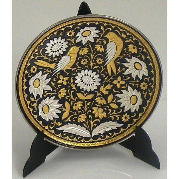 Wall Decor Silver Plates : Dama gold and silver bird round decorative plate by