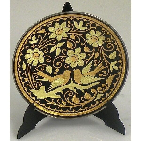 Damascene gold bird round decorative plate by midas of for Decor plates