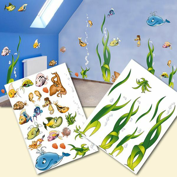 wandtattoo kinderzimmer unterwasserwelt fische pflanzen wandaufkleber sticker ebay. Black Bedroom Furniture Sets. Home Design Ideas