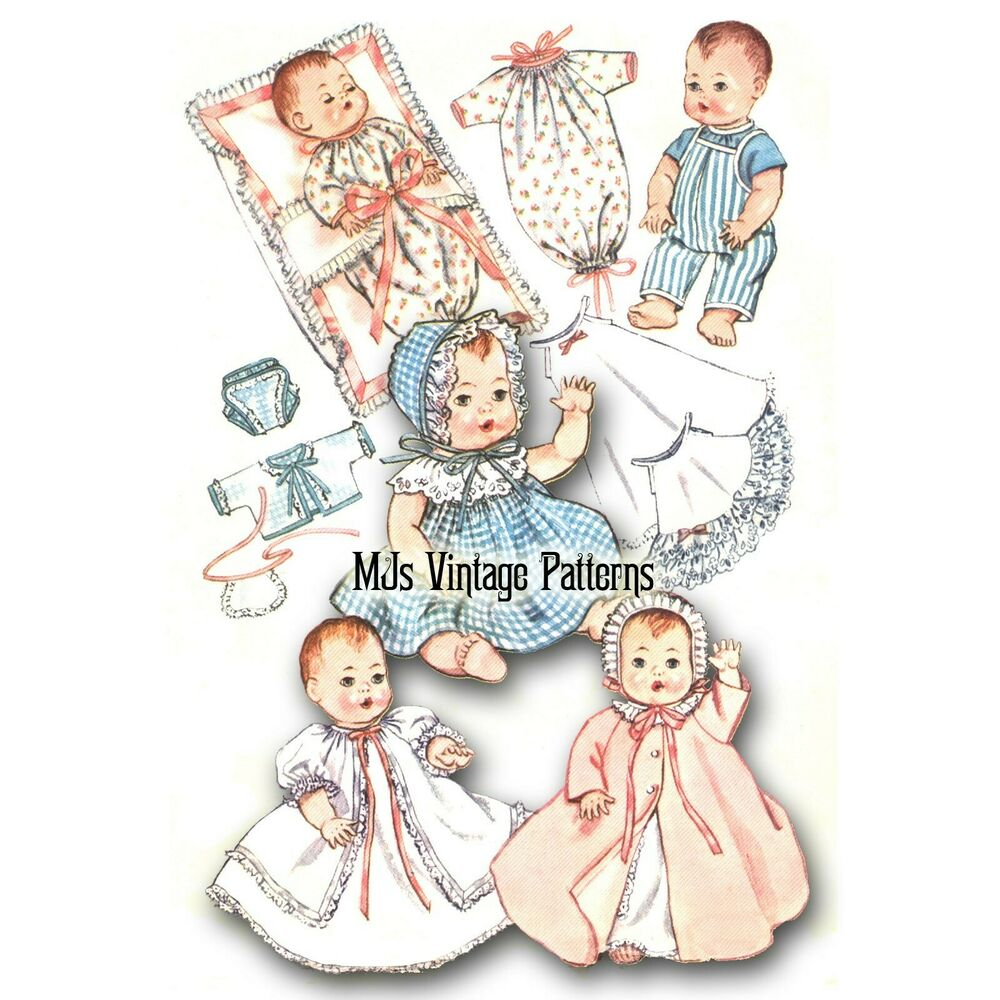 """Baby Doll Clothes Vtg Pattern for 8"""" Ginny Ginnette"""