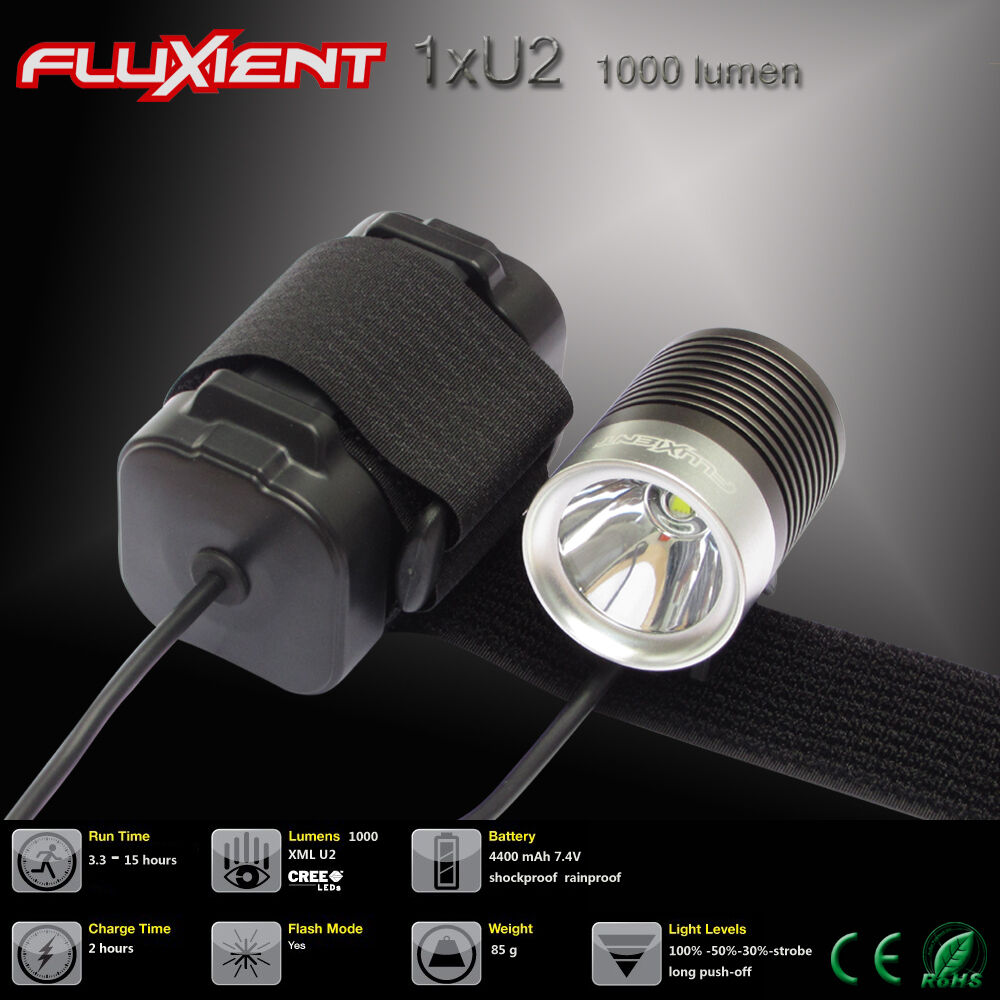 fluxient 1000 lumen 1xu2 led rechargeable bicycle light with li ion battery ebay. Black Bedroom Furniture Sets. Home Design Ideas