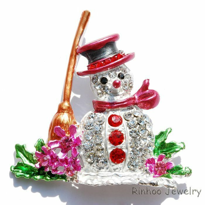 Hot new style lovely crystal christmas snowman red brooch