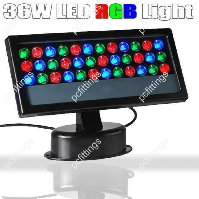 36w rgb led light floodlight wall wash lamp outdoor party. Black Bedroom Furniture Sets. Home Design Ideas