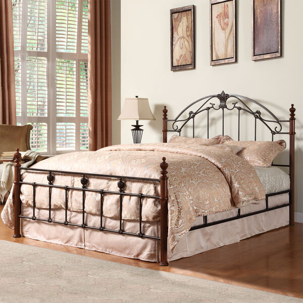 new newcastle queen size cherry finish cast iron metal bed footboard headboard ebay. Black Bedroom Furniture Sets. Home Design Ideas