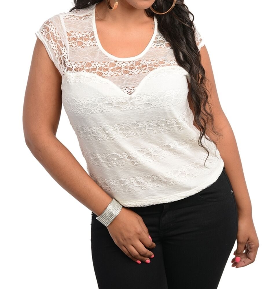 Womens Plus Size Clothing Ivory Lace Top With Open Lace