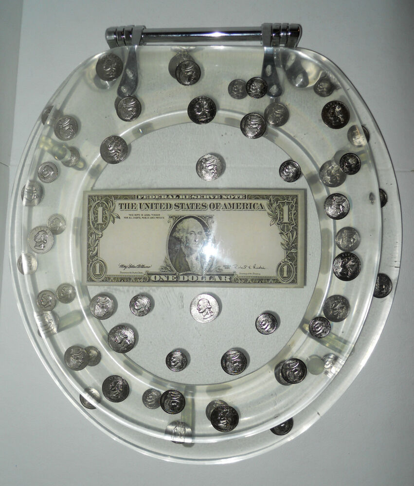 Lucite Resin Toilet Seat Standard Clear Us Dollar Coins