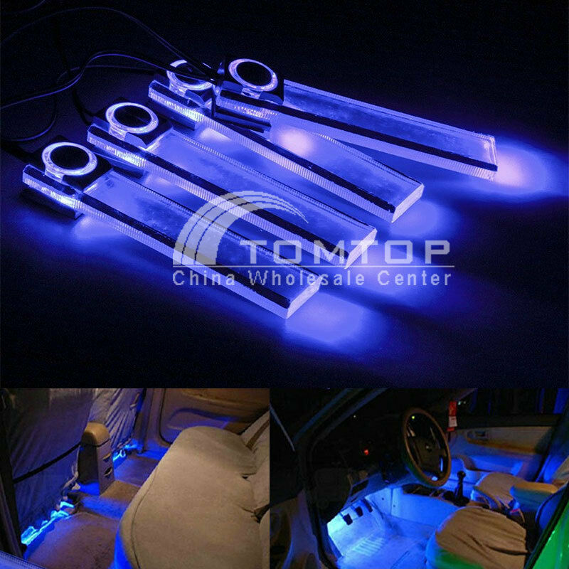 4 led car interior decorative floor dash light lamp car cigarette lighter blue ebay. Black Bedroom Furniture Sets. Home Design Ideas