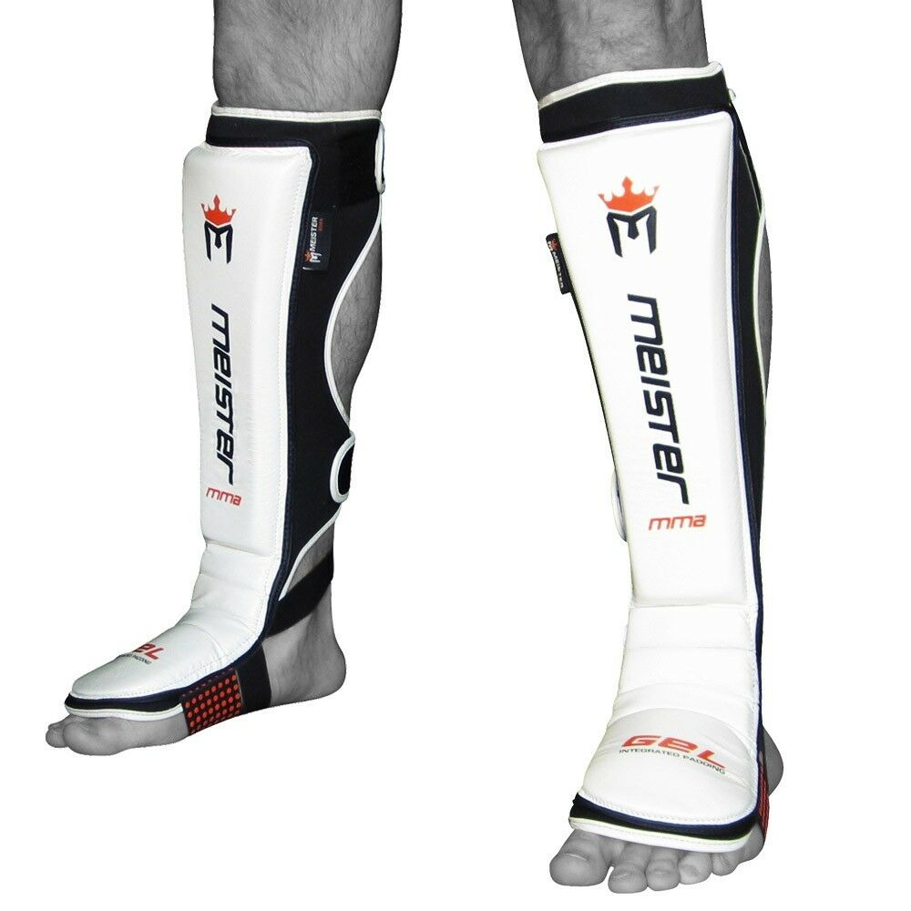 Meister Edge Shin Guards W Gel Padding Mma Shin Instep Pads Muay Thai Pair Ebay