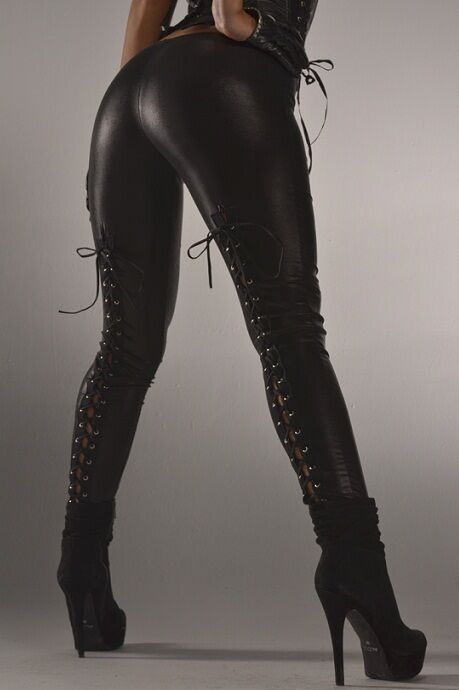 Sexy Wet Look Black Faux Leather Leggings W Lace Up Back