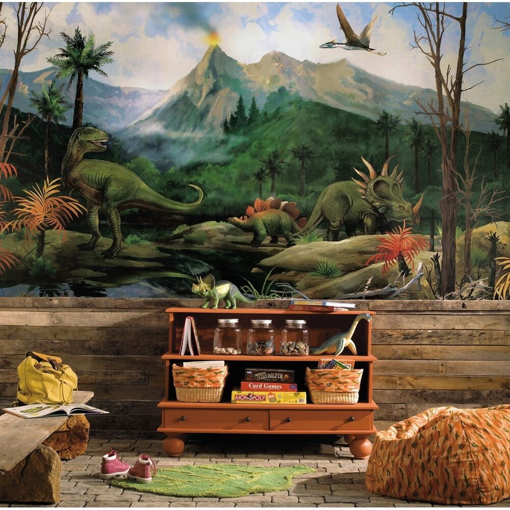 New xl dinosaurs prepasted wallpaper mural boys bedroom for Boys mural wallpaper