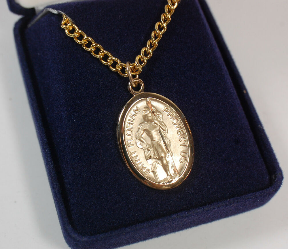 """24"""" Gold Plated Fire Fighter Man St Florian Necklace"""