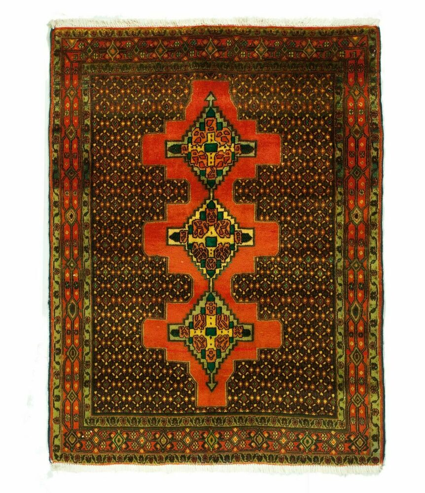 Vintage Overdyed Persian Brick Red Green Accents Rug 4 Ft