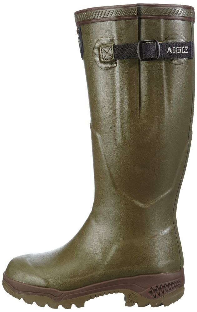 aigle parcours iso 2 neoprene lined wellington boots khaki anti fatigue wellies ebay. Black Bedroom Furniture Sets. Home Design Ideas