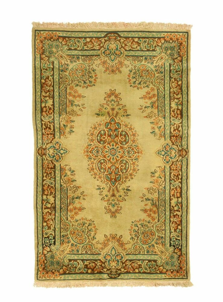 Vintage Overdyed Persian Nain Floral Faded Olive Green Rug
