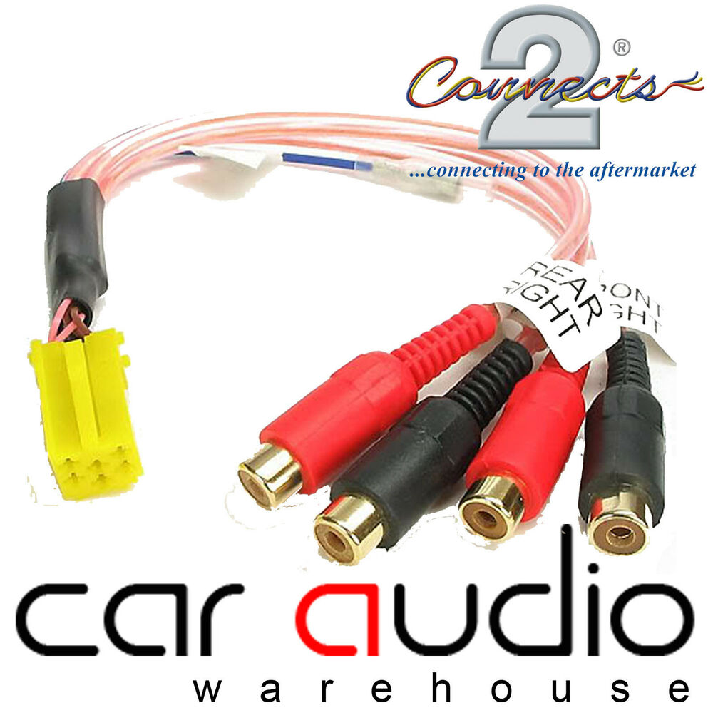 VW Golf IV Car Stereo Radio Yellow Mini ISO Amplifier RCA Phono Line ...
