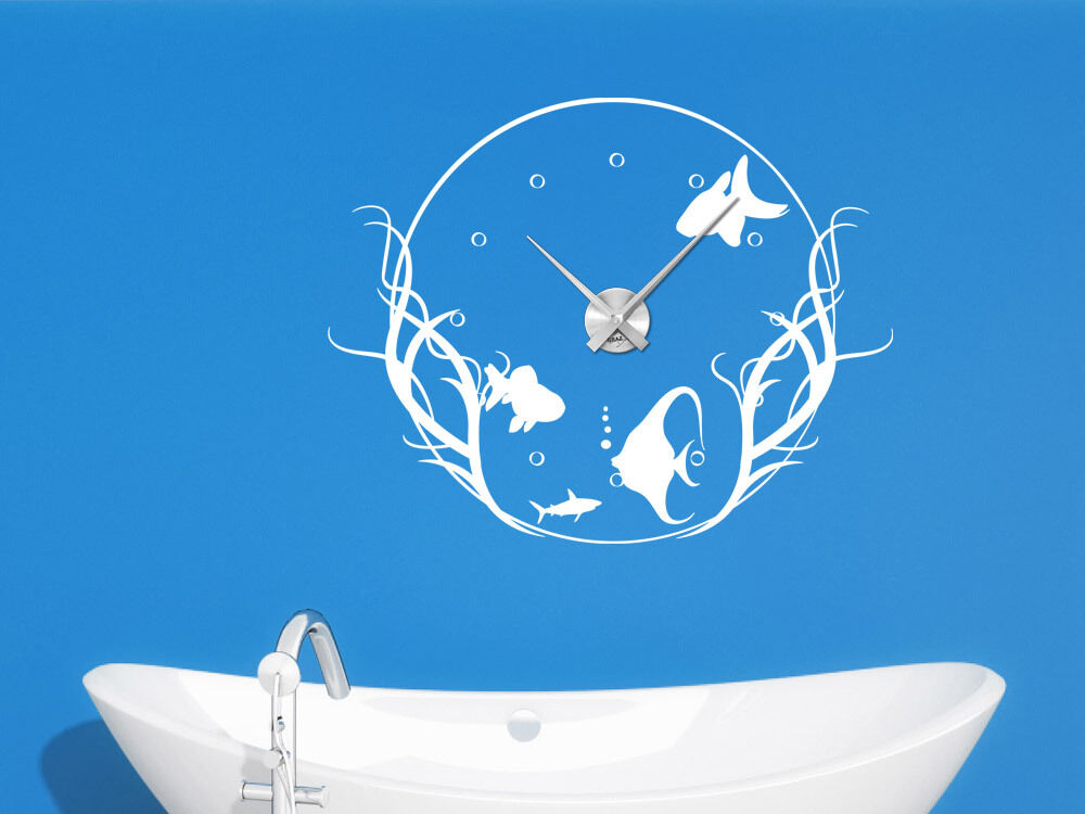 wandtattoo uhr mit uhrwerk wanduhr badezimmer fische aquarium wc ebay. Black Bedroom Furniture Sets. Home Design Ideas