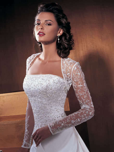 Long sleeve lace white ivory bridal jacket bolero shrug for Wedding dress long sleeve lace jacket