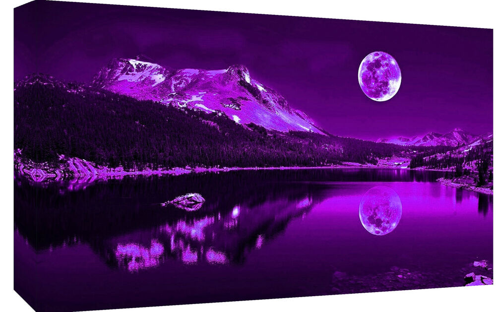 purple plum moonlit lake cotton canvas wall art picture print a1 a2 sizes ebay. Black Bedroom Furniture Sets. Home Design Ideas