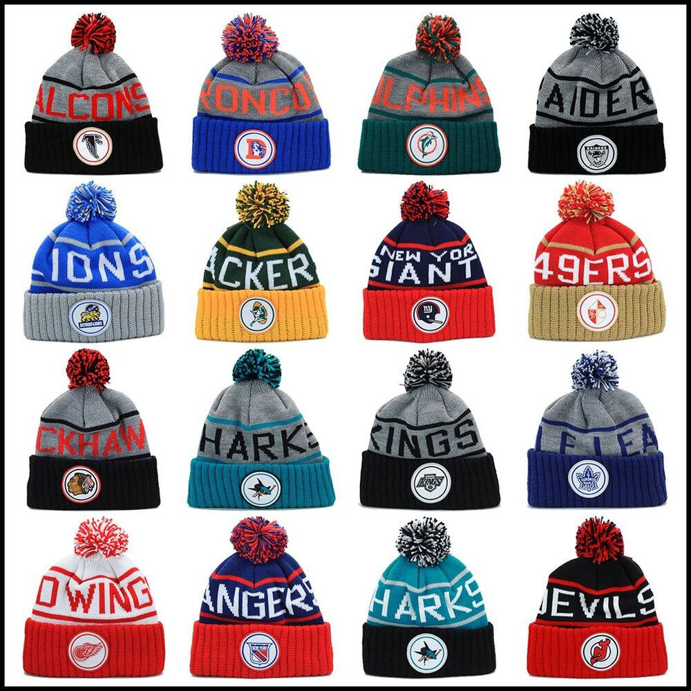 Mitchell Amp Ness Kj47z Nhl Nfl Knit Beanie Hat Skully Pom