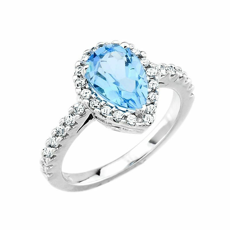 blue topaz december birthstone diamond engagement ring usa made ebay