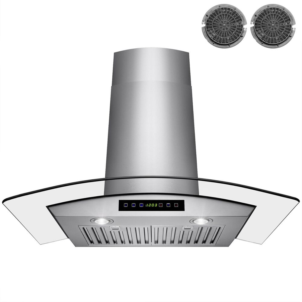 Ventless Range Hoods ~ Quot glass stainless steel ventless wall mount range hood w