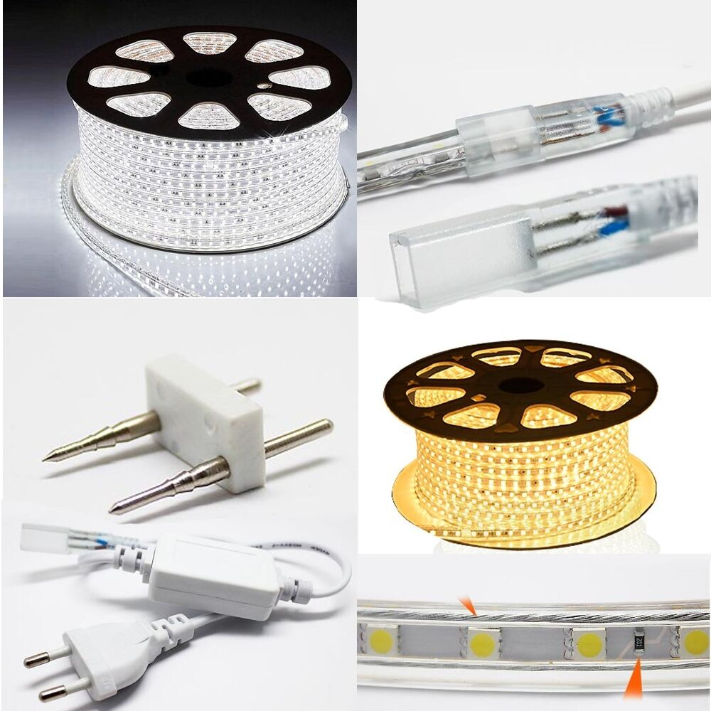 led strip 220v 230v 240v ip67 waterproof 5050 smd lights rope power cord free ebay. Black Bedroom Furniture Sets. Home Design Ideas