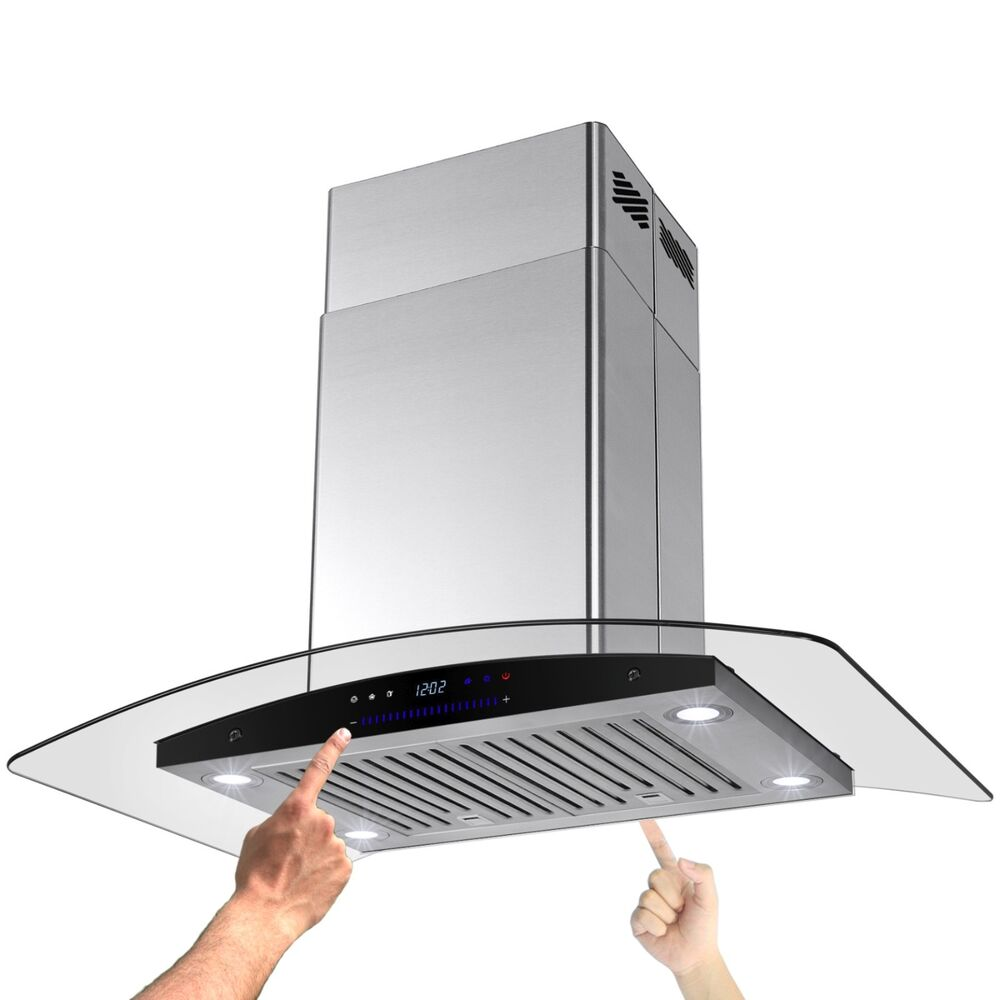 Ductless Range Hoods ~ Quot ductless glass stainless steel island mount style