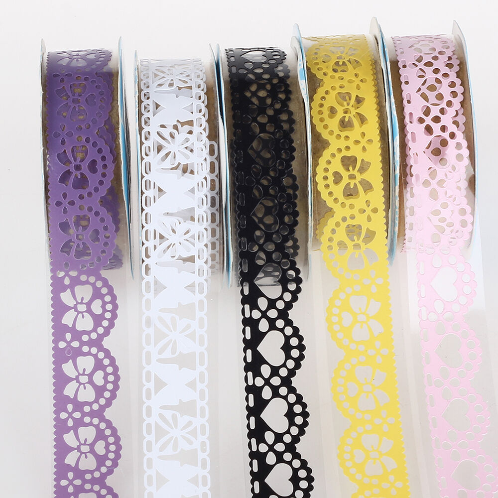 5pc Washi Paper Lace Roll Diy Decorative Adhesive Sticky