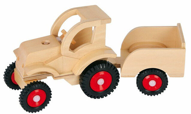 holz trecker traktor mit anh nger bauernhof sandkasten kinder ebay. Black Bedroom Furniture Sets. Home Design Ideas
