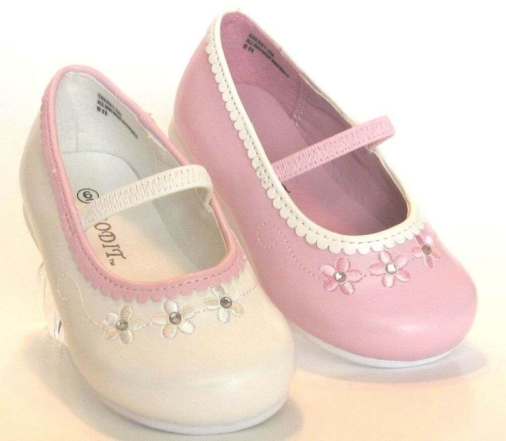 toddler pink and white dress shoes flower