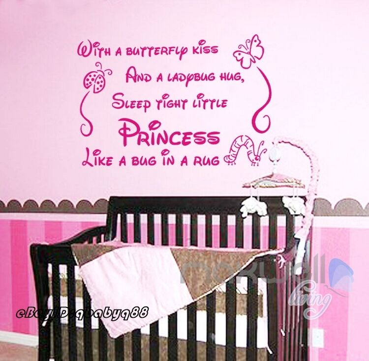 Sleep Tight Princess Wall Quote Decals Stickershome Decor Kids Nursery Baby  Art | EBay