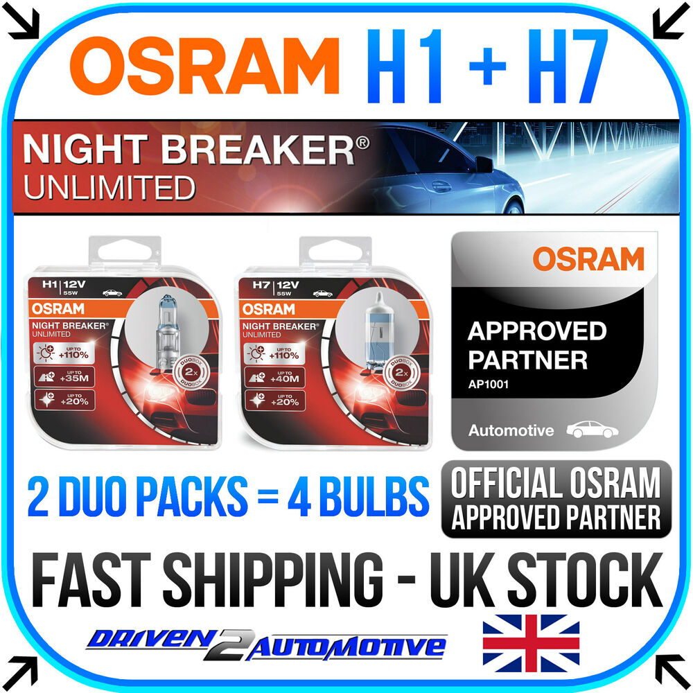 osram h1 h7 night breaker unlimited duo packs 4 bulbs. Black Bedroom Furniture Sets. Home Design Ideas