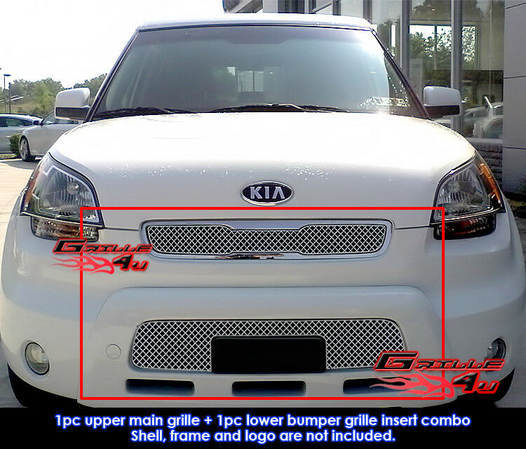 fits kia soul stainless steel mesh grill insert combo 2010 2011 ebay. Black Bedroom Furniture Sets. Home Design Ideas