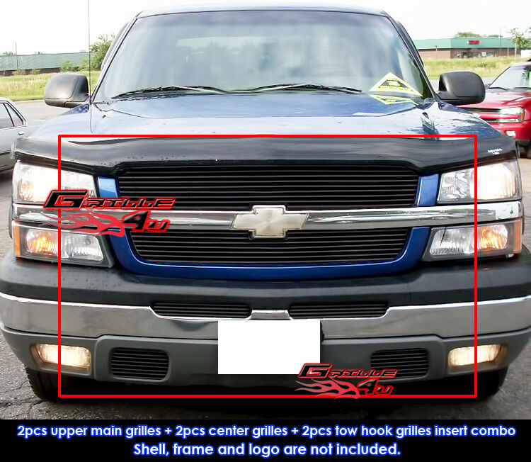fit 03 05 chevy silverado 1500 1500 hd 03 04 2500 3500 black billet grill combo ebay. Black Bedroom Furniture Sets. Home Design Ideas