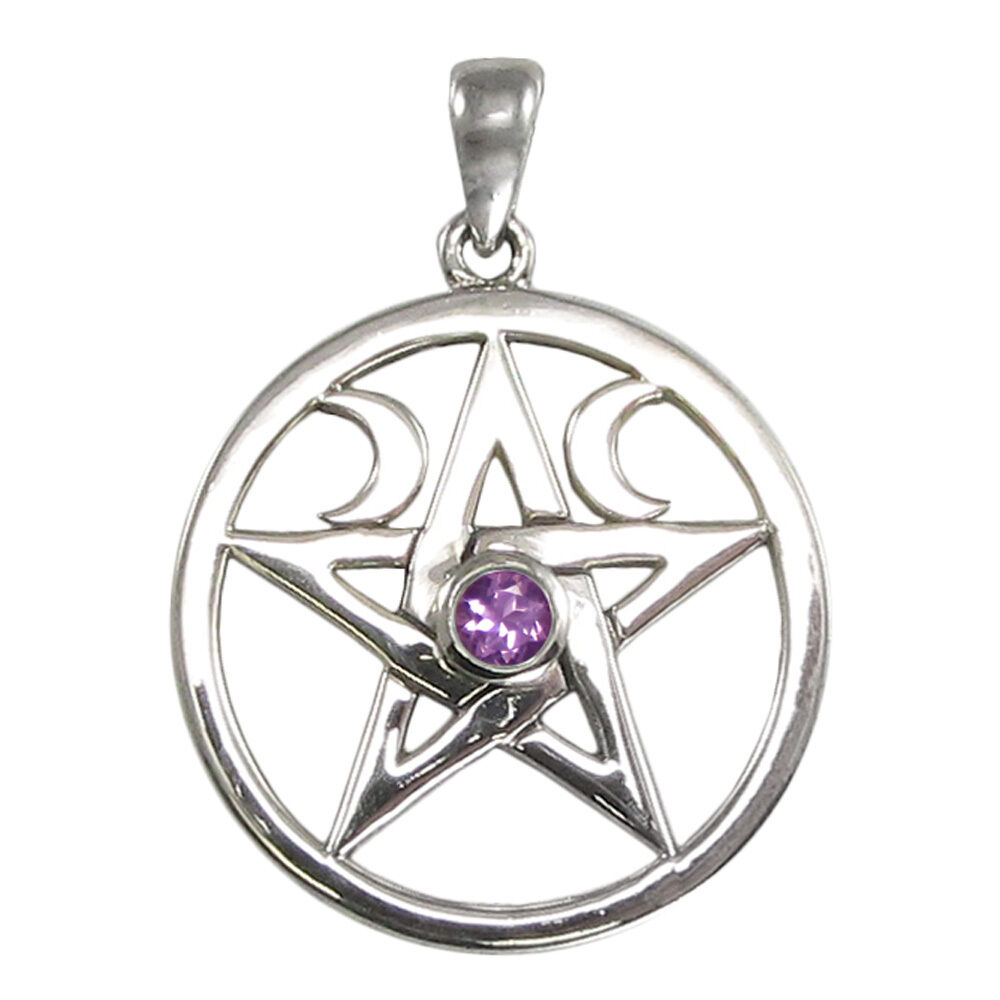 Moon Phase Pentacle With Amethyst 1283 Am Wiccan Pagan