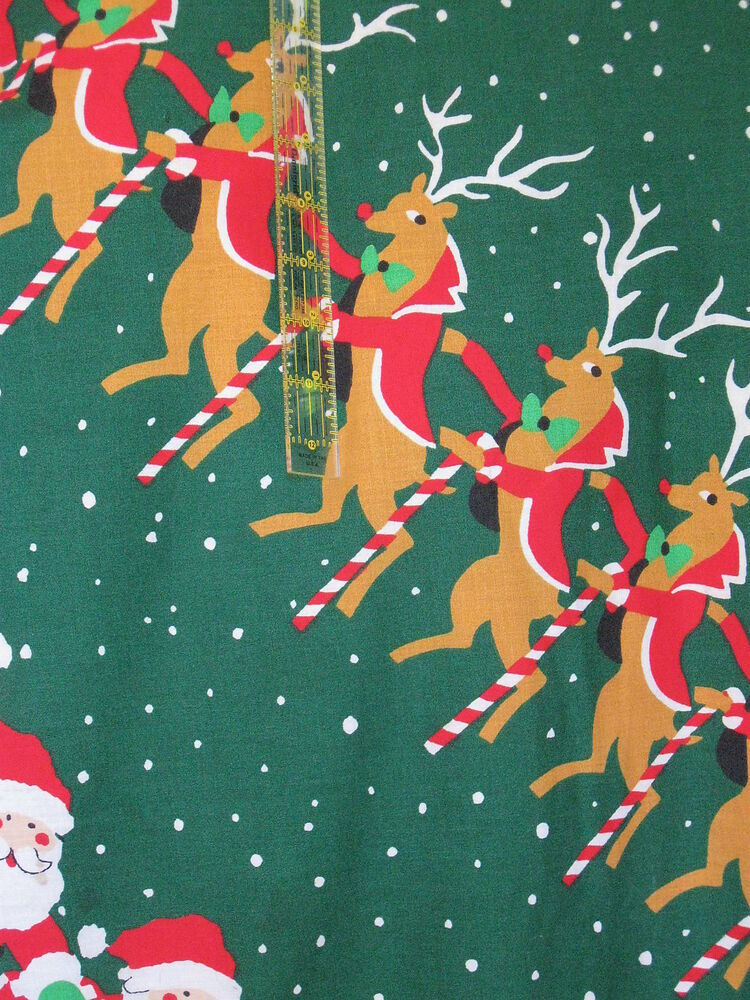Vintage Christmas Home Decor fabric 70s Green large scale ...