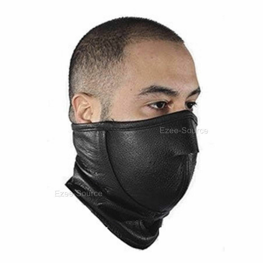 Face Mask: NEW MOTORCYCLE GENUINE LEATHER FULL FACE SKI MASK NECK