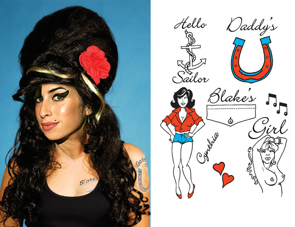 Rehab amy winehouse beehive wig rose 9 free tattoos ebay urmus Image collections