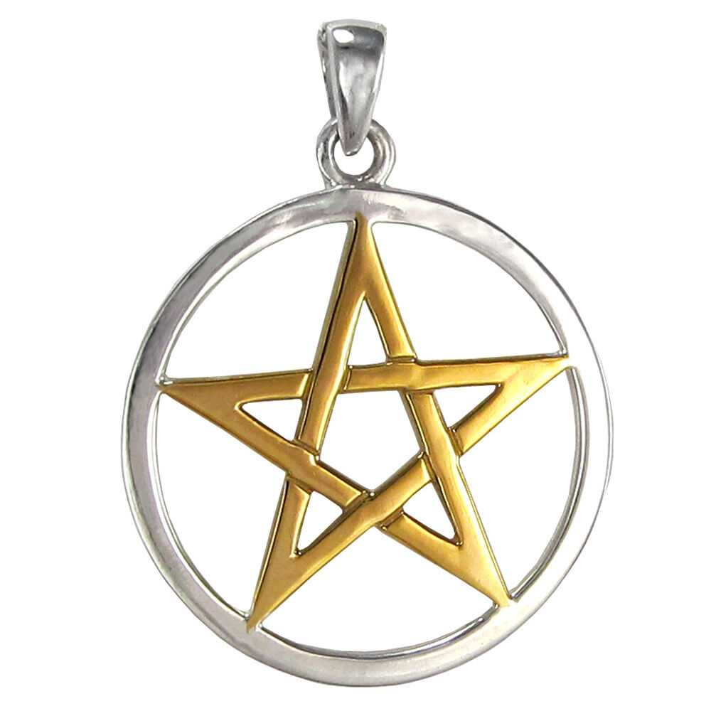 solid sterling silver pentacle pendant with gold accents