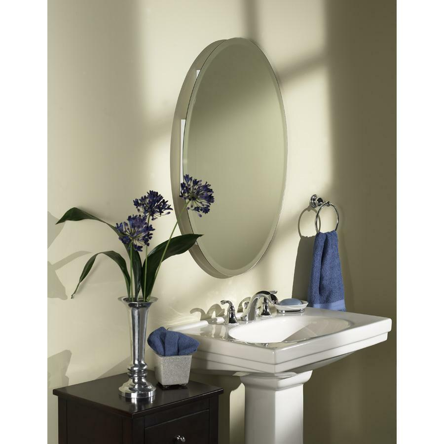 Steel recessed metal bathroom medicine cabinet 24x36 bevel oval mirror 8191 ebay Oval bathroom mirror cabinet