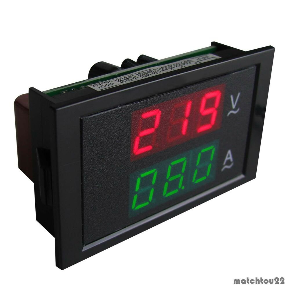 Ac Panel Meters : Ac v a digital dual led volt amp combo panel