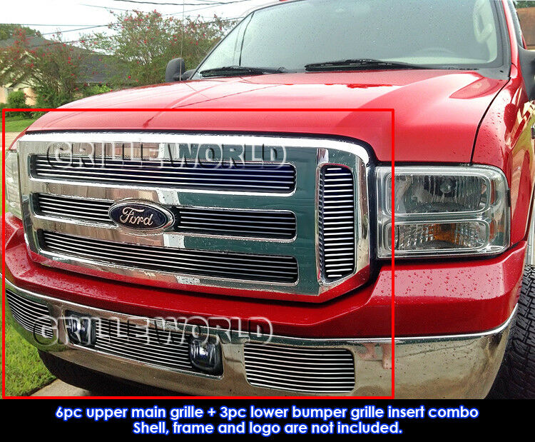 fits ford excursion f250 f350 f450 f550 billet grill combo. Black Bedroom Furniture Sets. Home Design Ideas
