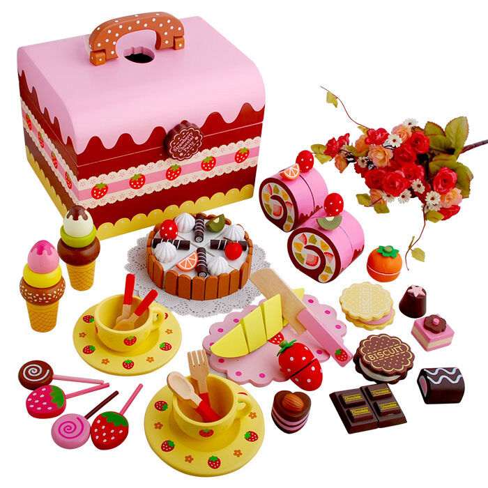 Wooden Pretend Play Toy Cake Icecream and Tea Fruit Cutting Set in ...