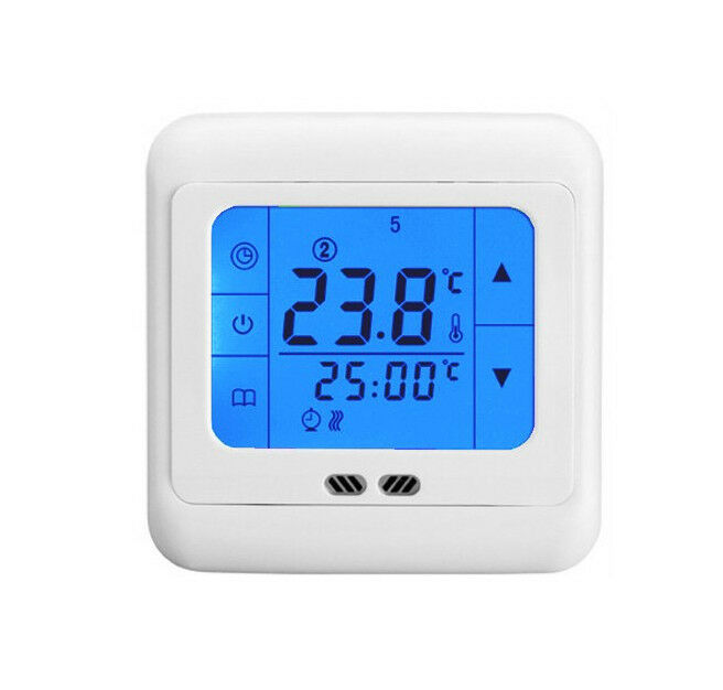 touch screen programmable thermostat underfloor heating temperature controller ebay. Black Bedroom Furniture Sets. Home Design Ideas