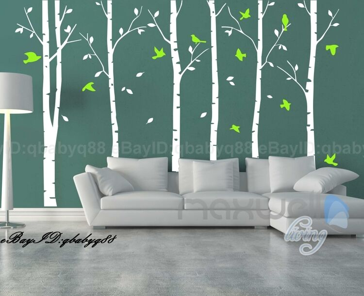 Giant Stunning Birch Birds Tree Forest Wall Stickers Decal