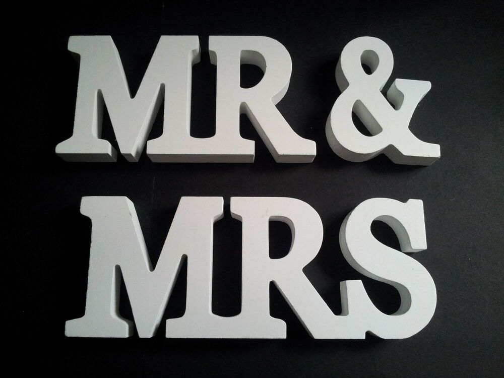 mr mrs wood block white letters wedding gift or table decoration