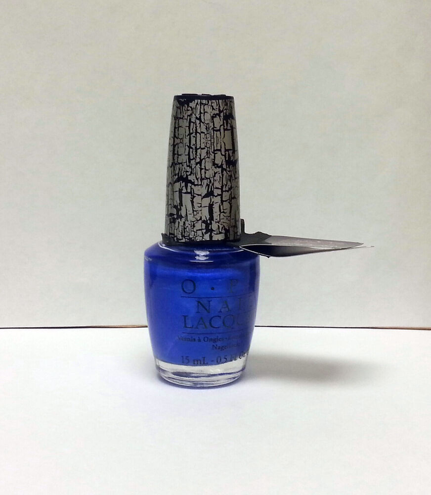 Black Nail Polish Ebay: OPI Blue Shatter Crackle Nail Polish