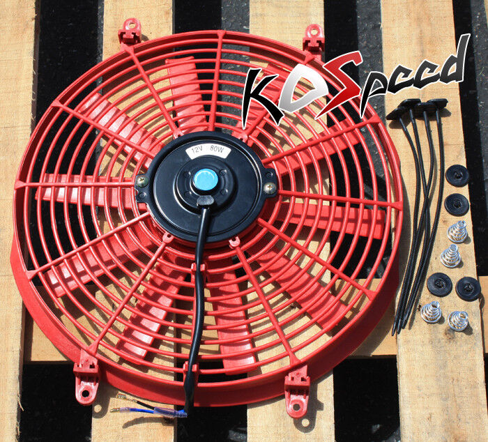 Universal Red 14 Quot 12v Electric Radiator Engine Cooling Fan